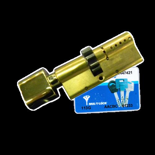 Цилиндровый механизм MUL-T-LOCK Interactive ключ-вертушка шестирёнка латунь 43x33