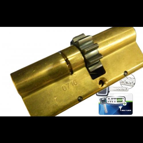 Цилиндровый механизм MUL-T-LOCK MT5+ ключ-вертушкашестеренка латунь 33x38