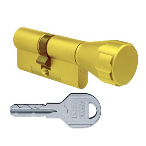 Цилиндровый механизм EVVA ICS ключ-вертушка латунь 41x41