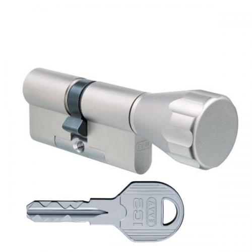 Цилиндровый механизм EVVA ICS ключ-вертушка никель 31x31