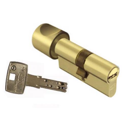Цилиндровый механизм DOM Saturn ключ-вертушка золото 35x35